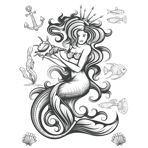 MERMAID & SEA SHELLS Transfer by Paint Pixie- Black Outline- Color Yourself!