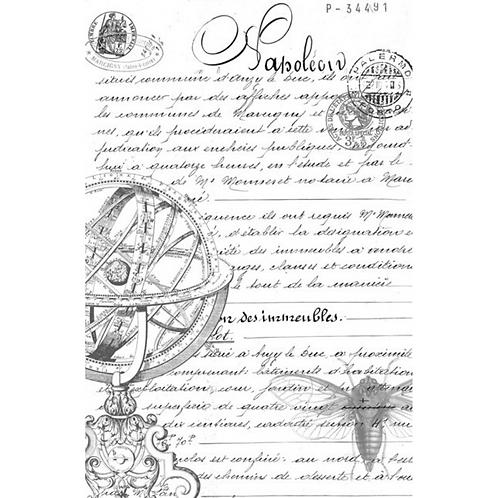 SCRIPT - Roycycled Decoupage Paper - BLACK & WHITE Vintage Print