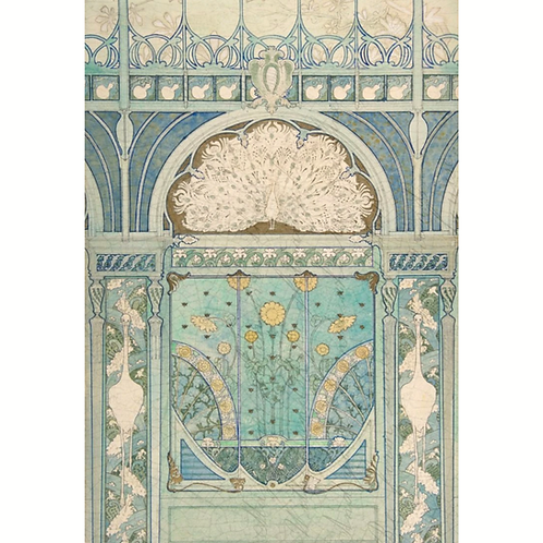 Roycycled Decoupage Paper-ART DECO PEACOCK PRINT- Vintage Art Nouveau Boho Style