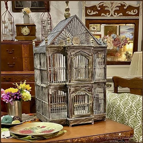 Antique Victorian Era WOODEN BIRDCAGE 1890's Wood Bird Cage House