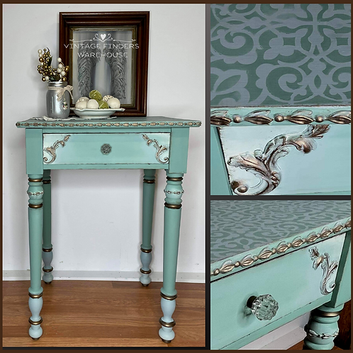 Restyled Antique Wood End Table w/ Stenciled Top & Gilded Trim
