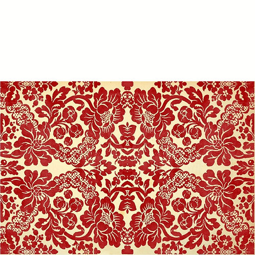 Roycycled Decoupage Paper - RED DAMASK - Scarlet Red Floral - Repetetive Design