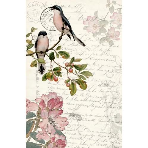 SPRING BIRDS - Roycycled Decoupage Paper - Farmhouse Style Mauve Floral