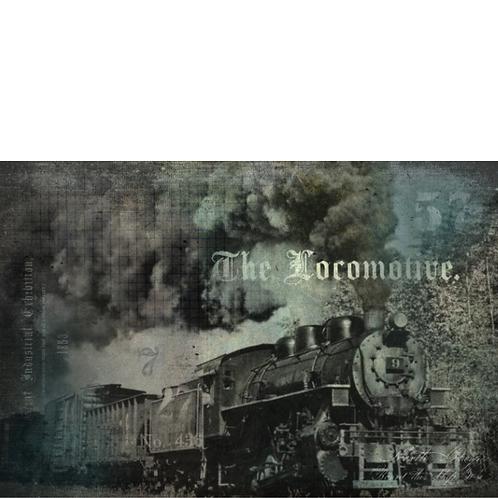 THE LOCOMOTIVE -Roycycled Decoupage Paper - Black & White Train Photograph Print