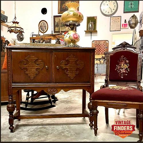 1920's Vintage FLEUR DE LIS LIQUOR CABINET Carved Wood Antique Entry Table