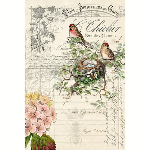 BIRD EPHEMERA -Roycycled Decoupage Paper- Farmhouse Style Floral Print