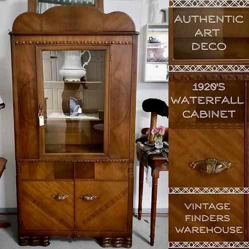 ART DECO Antique 1920s WATERFALL Style HUTCH Corner Cabinet