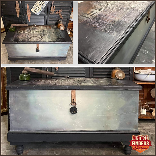 Vintage PAINTED BLANKET CHEST- Steampunk Coffee Table-Living Room Furniture