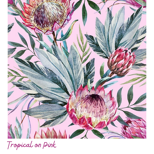 TROPICAL  ON PINK Decoupage Rice Paper- for Furniture & Decor- by Dixie Belle