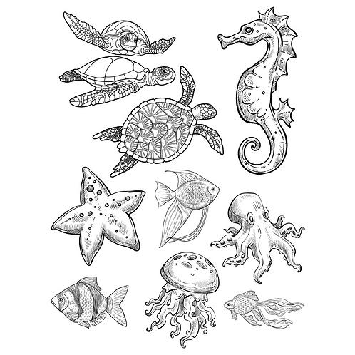 SEALIFE-TURTLES-JELLYFISH-STARFISH Transfers- by Paint Pixie- DIY Decor Ideas
