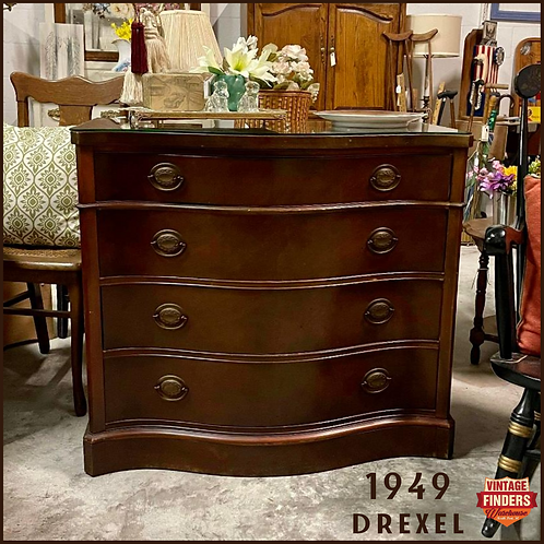 (SOLD) 1949 Drexel Mahogany Bachelors Chest-New Travis Court Collection