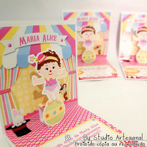 Convite Mini pop up - Circo Menina