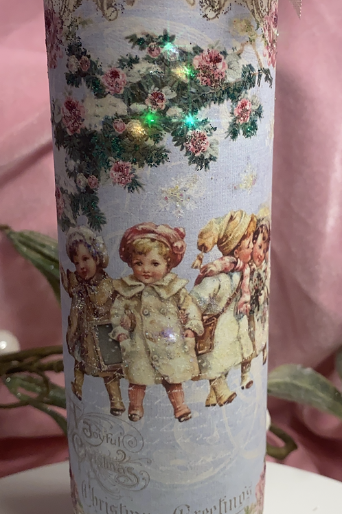 "Candles, hand embellished vintage Christmas prints . 8"" tall"