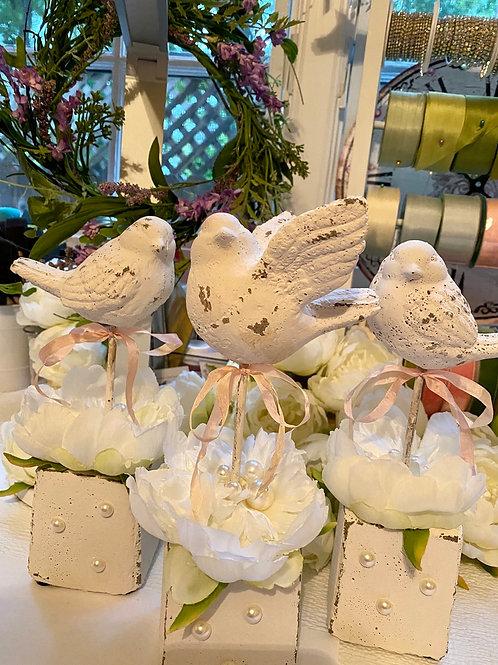 Shabby chic nightingales set of 3