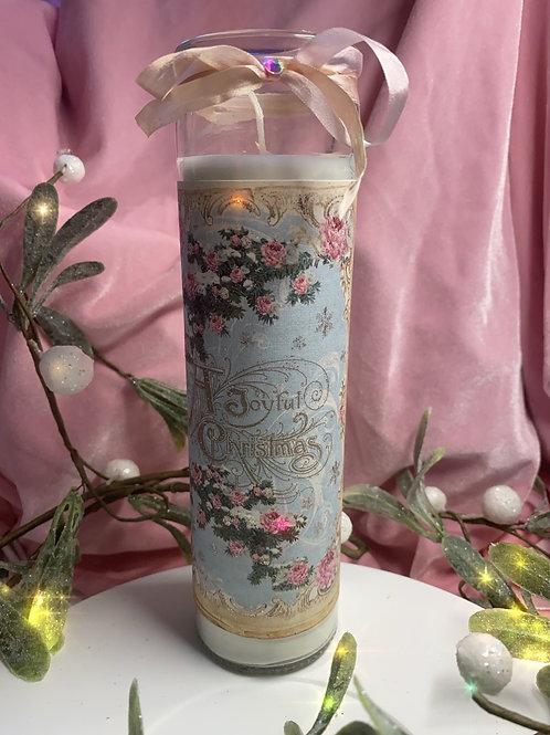 "Candles, hand embellished vintage Christmas prints. 8"" tall ."
