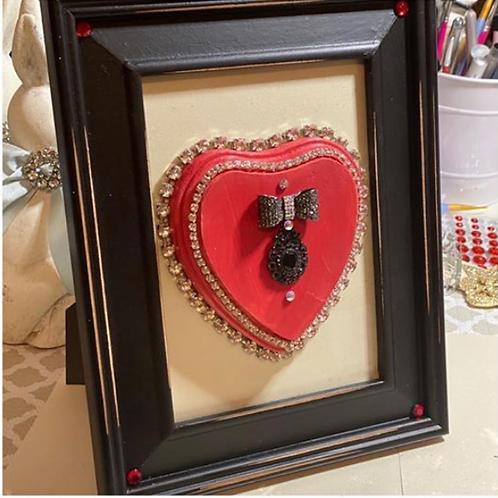 Rhinestone framed Heart with bow