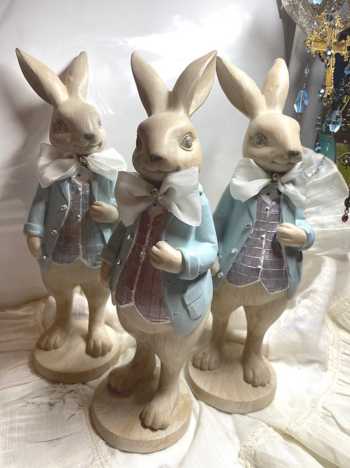 Dressed up bunnies (sold separately ) rhinestone button French silk bow
