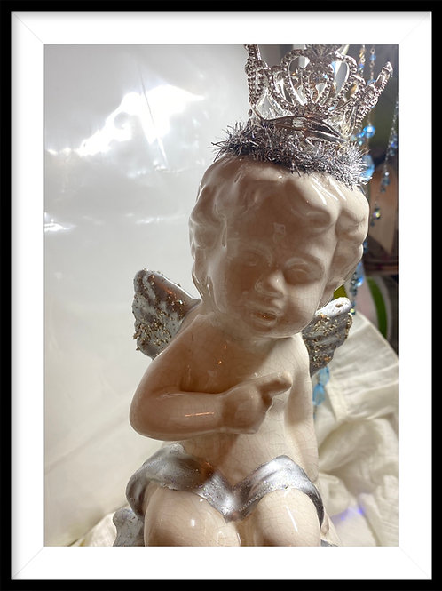 Glitter winged crowned cherubs, green velvet ribbon