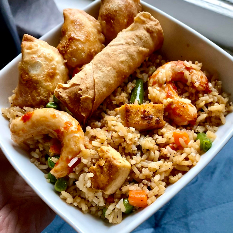 Vegetable Fried Rice with Spring Rolls