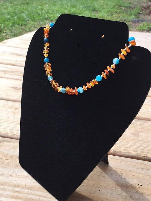 Natural Baltic Amber Agate Teething Necklace