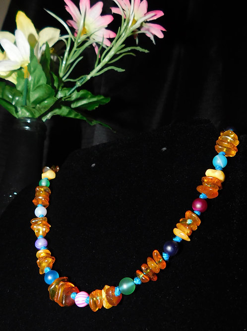 Baby Kid Natural Baltic Amber Agate Rainbow Necklace on All Natural Hemp string.