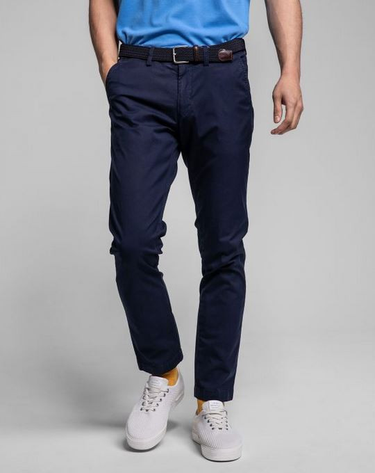 Chino marine slim fit en coton stre