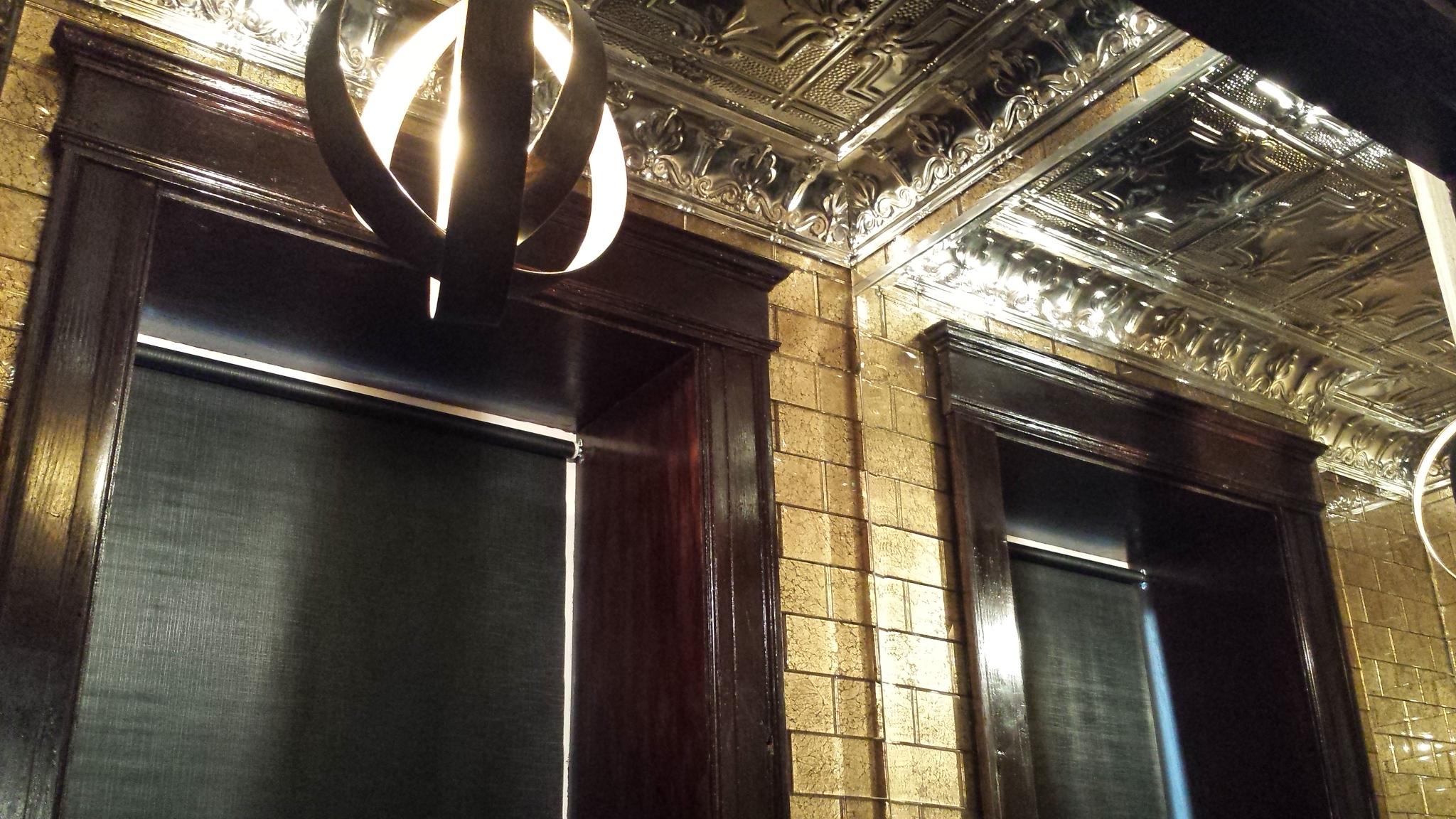 Powder Room Light & Tin Ceiling