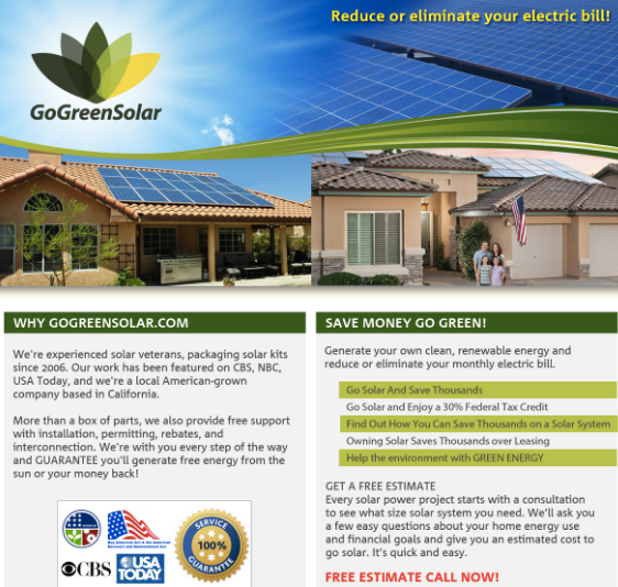 GoGreenSolar Affiliate Program in ShareaSale + PayperCall