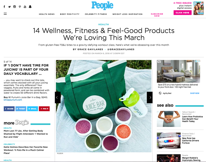 Purium® buzz on People.com
