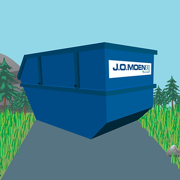 Drawing of a blue container for waste and garbage in a green environment with threes and a blue sky from J.O. Moen Miljø AS