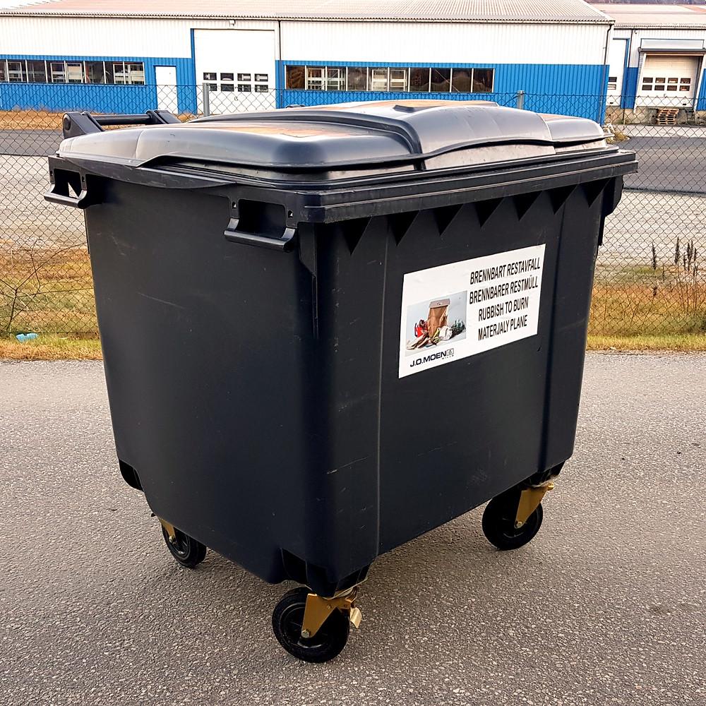 1000 liters avfallsdunk på hjul til avfallshåndtering.