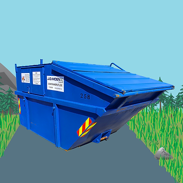 Waste container for rent in a green field with threes and a blue sky, from the company J.O. Moen Miljø AS