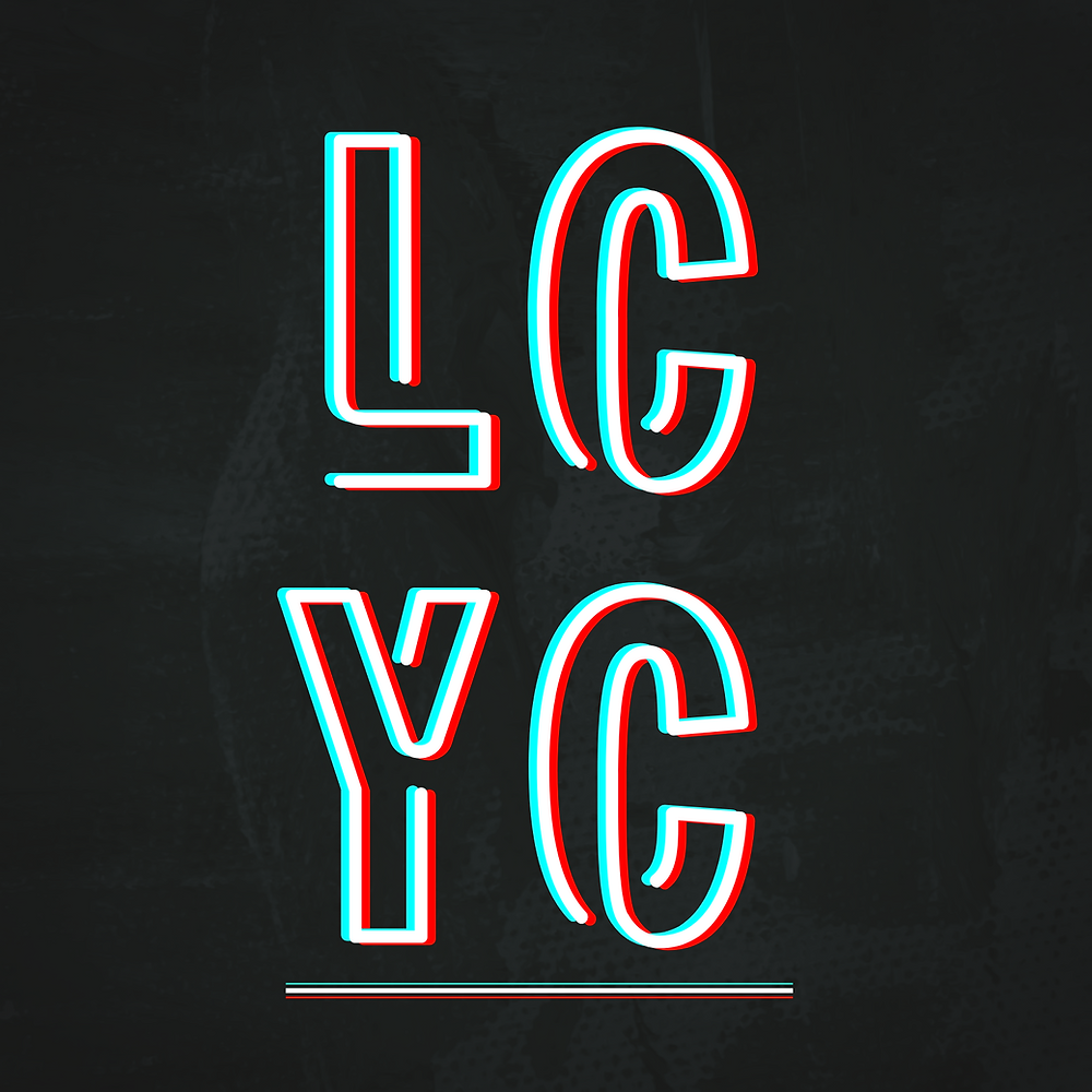Abbreviated name for the Lewisham Creative Youth Council, outline of the letters LCYC arranged in a square, underlined against a dark background