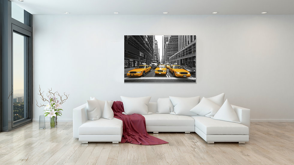 New York Downtown Taxi 30x20 Inches