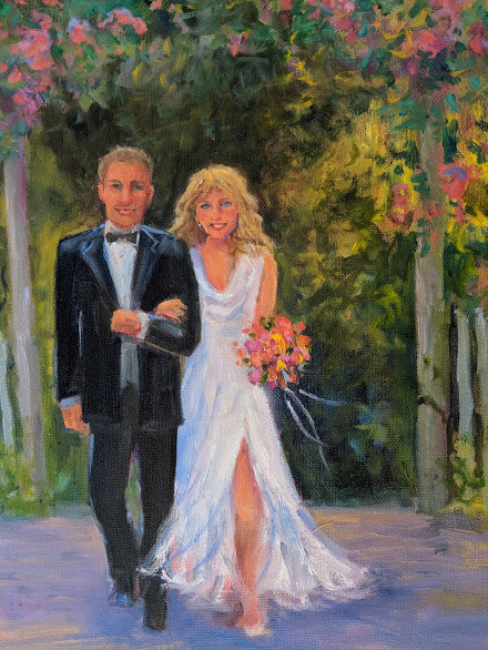 Impressionistic painting of a bride and groom