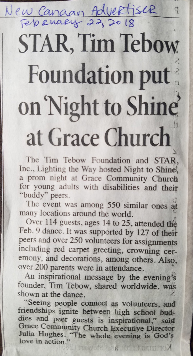 STAR Inc & Night To Shine in New Canaan Advertiser