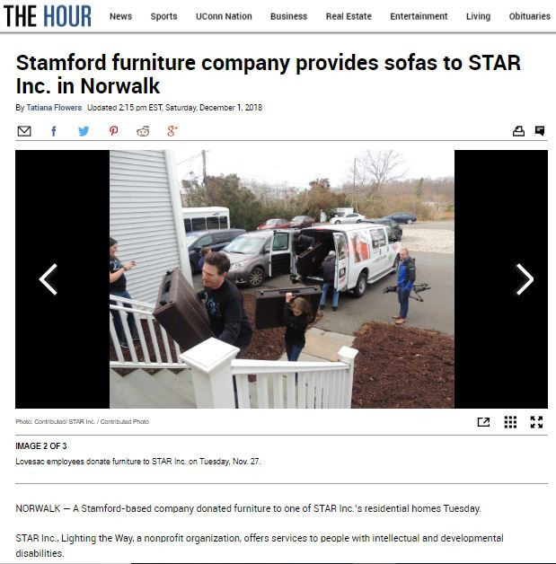 Stamford furniture company provides sofas to STAR Inc. in Norwalk