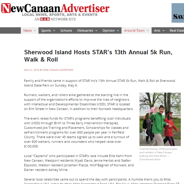 Sherwood Island Hosts STAR's 13th Annual 5k Run, Walk & Roll