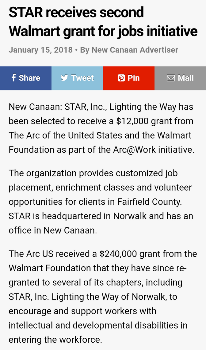 STAR receives second Walmart grant for jobs initiative