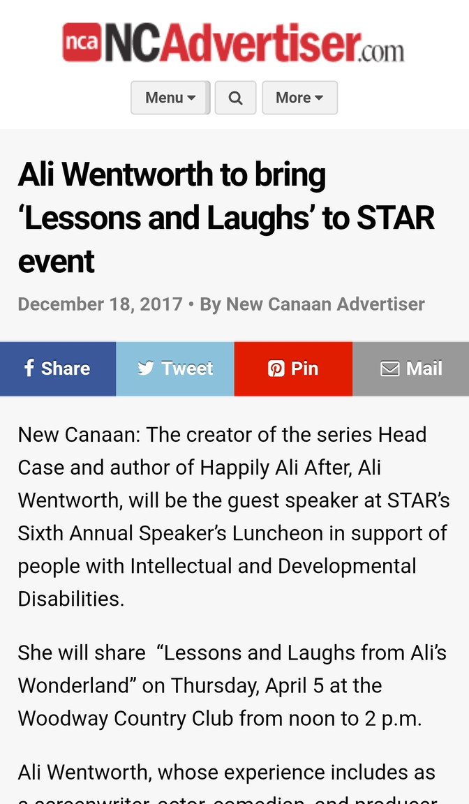 Speaker's Luncheon featured in New Canaan Advertiser