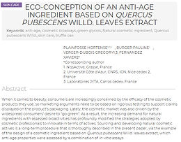 Publication of the article : Eco-conception of an anti-age ingredient based on Quercus pubescens Willd. leaves extract, in H&PC Today