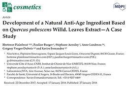 Publication de l'article : Development of a Natural Anti-Age Ingredient Based on Quercus pubescens Willd. Leaves Extract—A Case Study, dans la revue Cosmetics