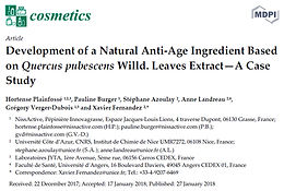 Publication de l'article : Development of a Natural Anti-Age Ingredient Based on Quercus pubescens Willd. Leaves Extract—A Case Study, dans la revue Cosmetics
