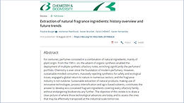 Publication of the article  : Extraction of natural fragrance ingredients: history overview and future, in the journal Chemistry & Biodiversity