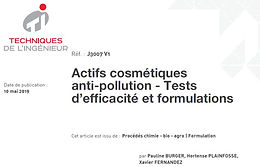 Publication of the 2nd article : Actifs cosmétiques anti-pollution - Tests d'efficacité et formulations, in the Techniques de l'Ingénieur