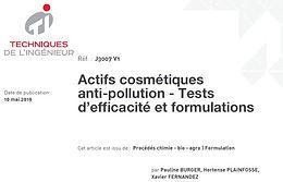 Publication de l'article : Actifs cosmétiques anti-pollution - Tests d'efficacité et formulations, dans les Techniques de l'Ingénieur.