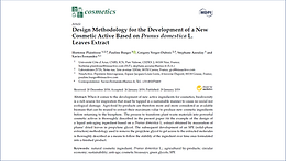 Publication de l'article : Design methodology for the development of a new cosmetic active based onPrunus domesticaL. leaves extract, dans la revue Cosmetics
