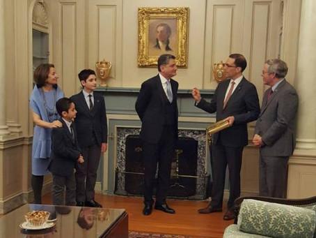 U.S. Chief of Protocol Bids Farewell to Ambassador Sargsyan