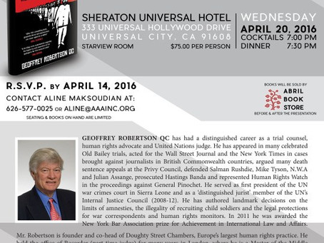 Armenian Assembly of America to Feature Geoffrey Robertson in California