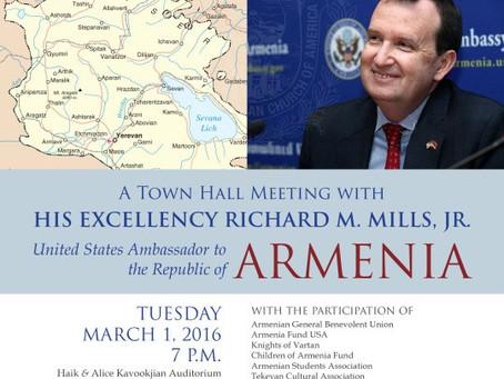 A Town Hall Meeting with US Ambassador to Armenia Ambassador Richard Mills in New York City